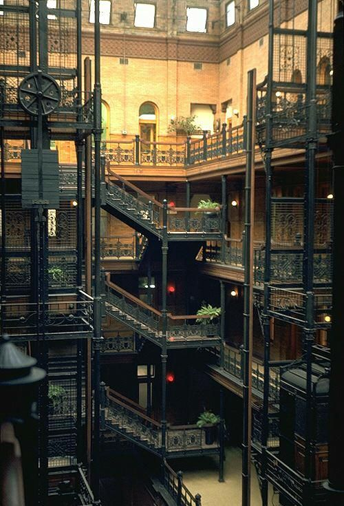 "Bradbury building, one of the places ""Blade Runner"" was filmed. ""It is an office building (in fact the oldest commercial building remaining in central LA), and is located at 304 South Broadway (South-East corner of 3rd & Broadway) in Los Angeles."" Click through for more photos and information."