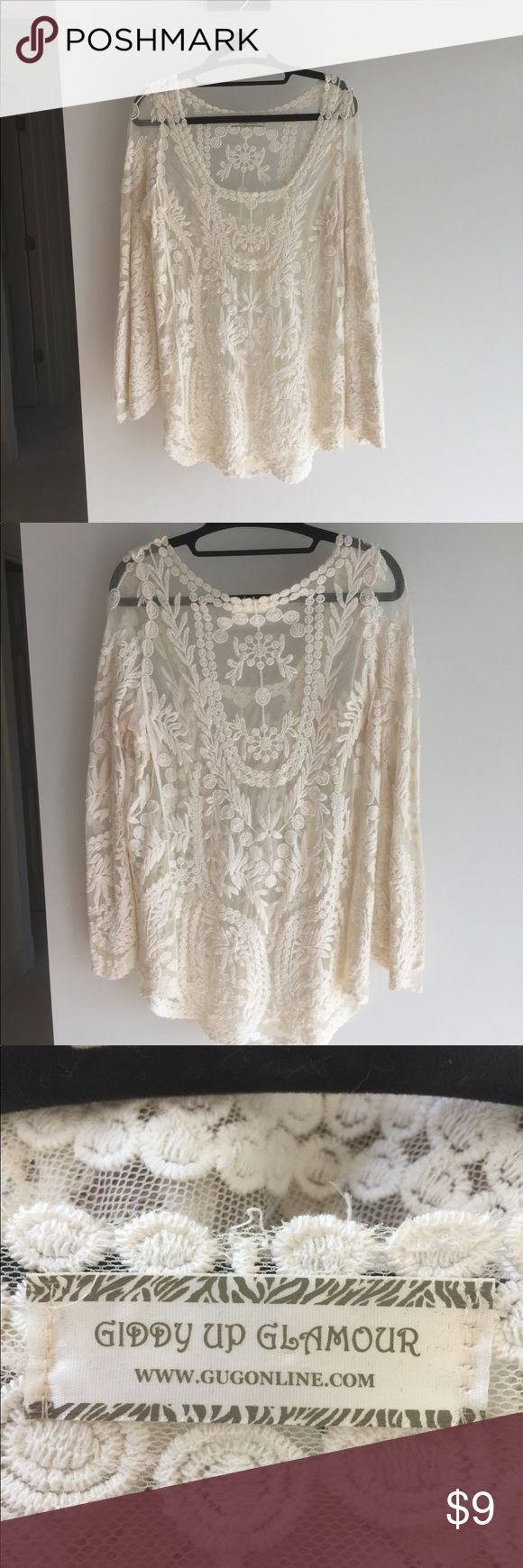 Cream Top Embroidered Giddy Up Glamour, Size S, excellent condition.  Would also fit a M. 100 percent cotton. Tops Blouses
