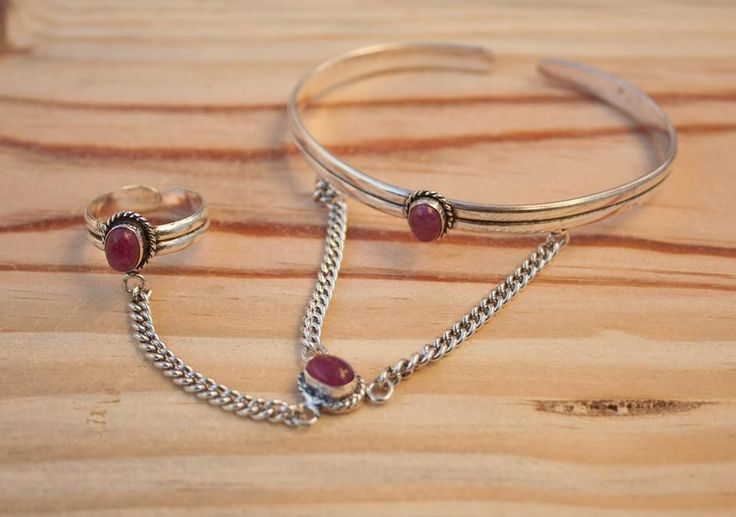 Indian Silver + Ruby Stone via FILOMENA ∵ Indian Jewelry. Click on the image to see more!