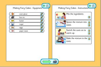 A children's planning template for making fairy cakes. Create an equipment list, item by item, and sequence the instructions.