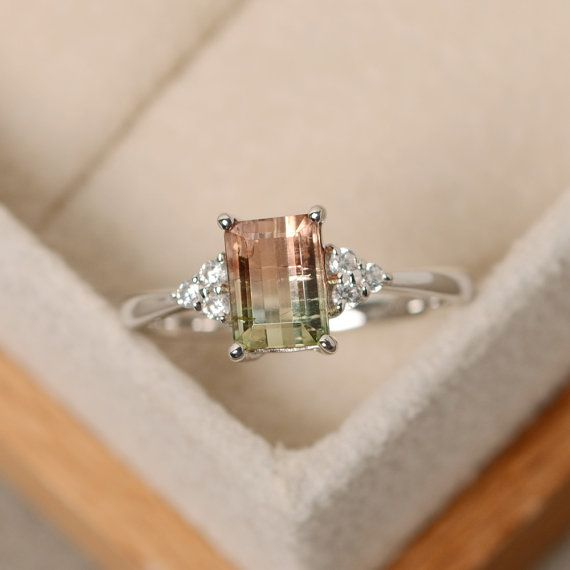 Watermelon tourmaline ring silver unique ring by LuoJewelry