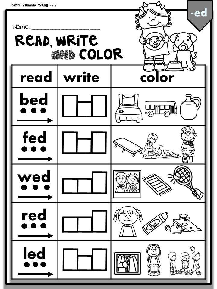 Phonics CVC Short Vowels Read, Write & Color