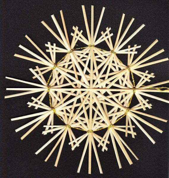 Rustikalstern Bellatrix3 goldgebunden - 17 cm von Handgefertigte Strohsterne auf DaWanda.com