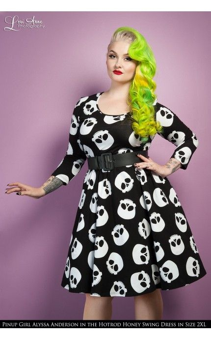 Deadly Dames- Hotrod Honey Swing Dress in Skull Print - Plus Size   Pinup Girl Clothing