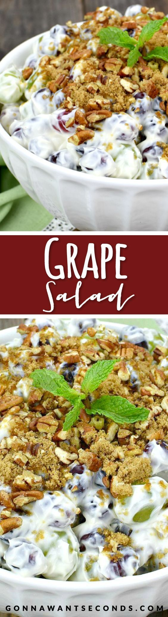 This refreshing Grape Salad is tossed with an amazing creamy, rich, luscious dressing and topped with a cruchy, nutty topping