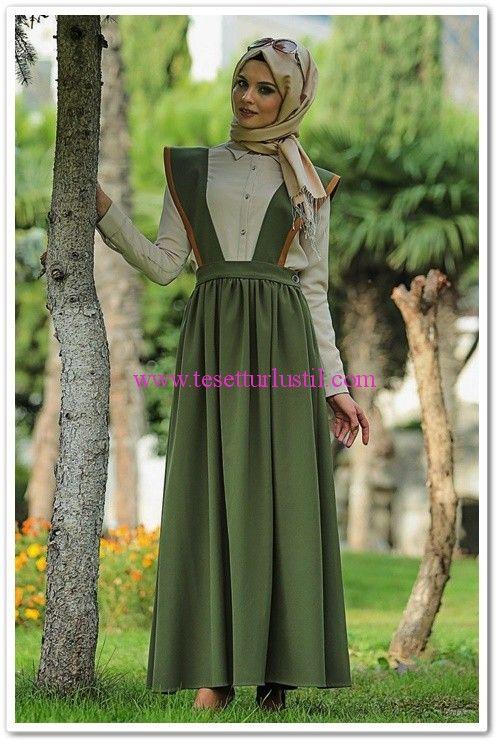 Butik Simge tasarımı yeşil salopet elbise
