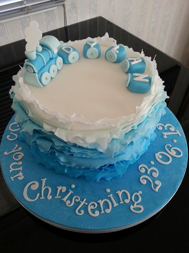 Blue  Tier Christening Cakes