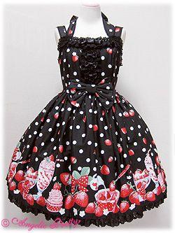 Angelic Pretty » Jumper Skirt » Milky Berry Halterneck JSK: Summer Dress, Angelic Pretty, Outfit, Kawaii Fashion, Sweet Dress, Wishlist, Kawaii Sweet Lolita Fairy, Photo