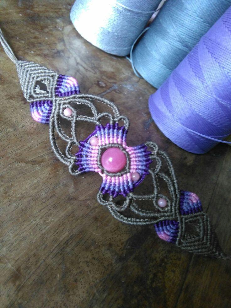 Macrame bracelet in purple and pink
