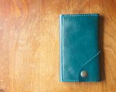 """Leather iPhone Wallet """"The Data Dave"""" in Deep Teal"""