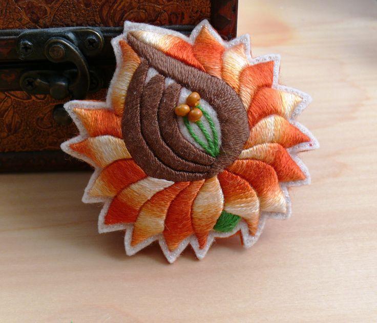 "A Bit of Hungary - Hand Emroidered ""Kalocsa"" Flower Chrysanthemum Folk Brooch https://www.etsy.com/listing/200339742/a-bit-of-hungary-hand-emroidered-kalocsa"