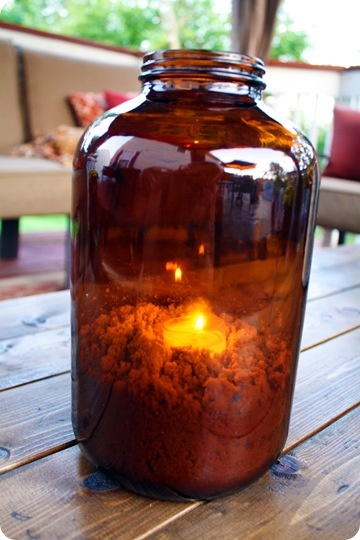 amber jar candle, sand + tea lights