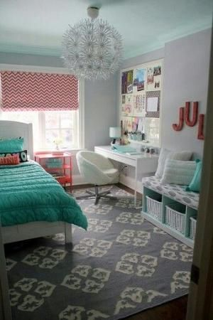 Girl bedroom... gray, aqua and coral by melinda.hendricks.50