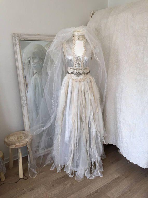Bruiloft jurk zilver godin etherische trouwjurk bruids toga