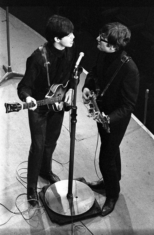 Paul McCartney and John Lennon (December 17, 1963 Saturday Club, BBC. The show was taped at the Playhouse Theatre, London between 3:00 - 6:30 pm)
