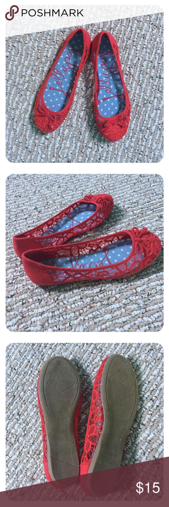 Adorable Red Jellypop Flats Red lacey Jellypop flats. Never worn. Perfect condition. Great with a dress! Offers welcome. Jellypop Shoes Flats & Loafers