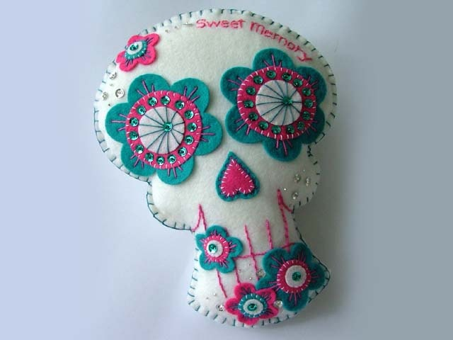 Embroidered Sugar Skull Pillow Day of the Dead Decoration. $30.00, via Etsy.