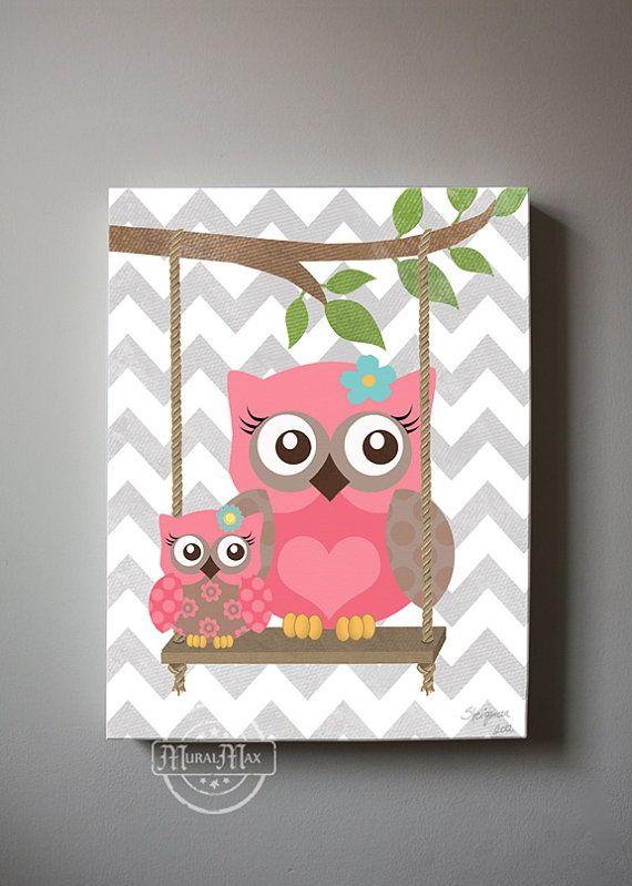 Owl Decor Girls wall art - OWL canvas art, Baby Nursery Owl with Swing 10x12  woodland whimsical nursery art