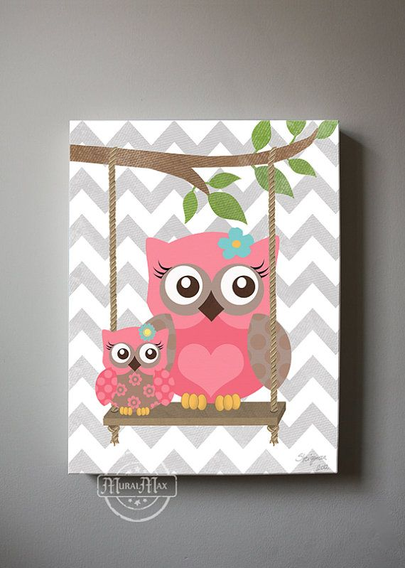 Owl decor girls wall art owl canvas art baby nursery owl with swing 10x12 woodland whimsical - Girl owl decor ...