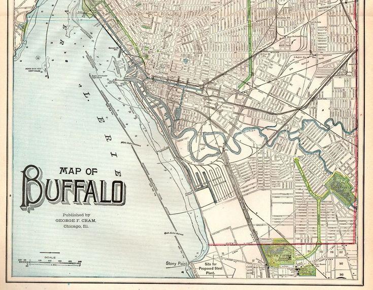 1902 Antique BUFFALO New York MAP Original Map of Buffalo Gallery Wall Art 4830
