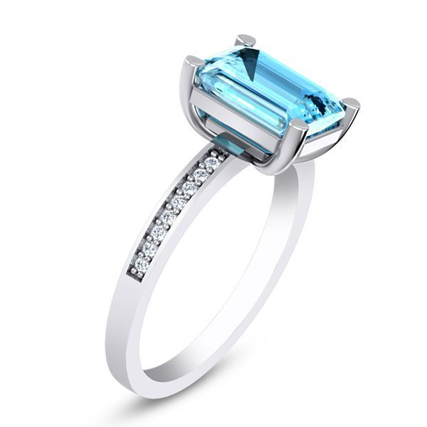Ziege Diamond and Aquamarine Ring #Gemstone #Ring #BuyDiamond