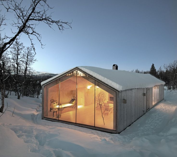V-Lodge / Reiulf Ramstad Arkitekter - Beautiful lodge surrounded by snow. Pretty simple form but highlighted by the materials used in the interior and it shape in V that separate the intimate from the common area of the lodge! Take a look....