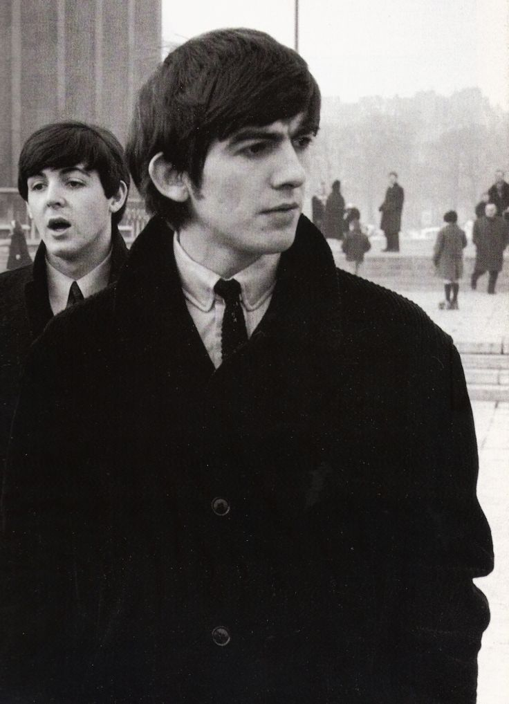 Paul and George in Paris. Photo by Terence Spencer, Jan. 1964
