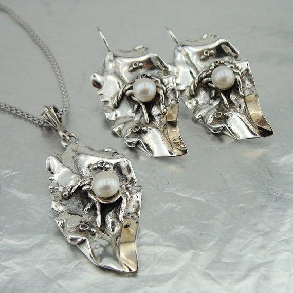 925 Collier perle or jaune 9K en argent pendentif par hadarjewelry