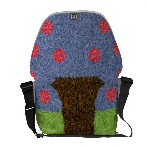 Green grass and blue tree messenger bags