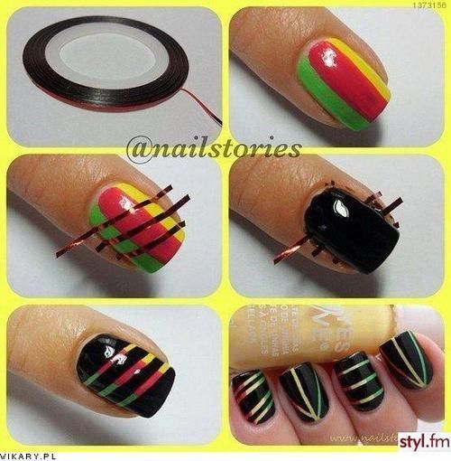 creative!: Nails Art, Nails Design, Nails Ideas, Nails Polish, Cool Ideas, Rasta Nails, Scratch Art, Nails Tutorials, Diy Nails