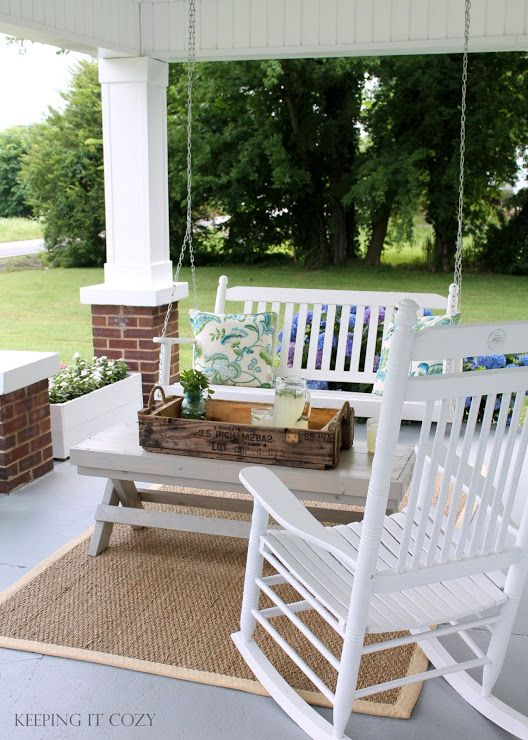 keeping it cozy cute front porch seating area with swing and rockers - Patio Seating Ideas