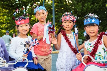 Children celebrating Independence Day at the annual Fourth of July celebration.