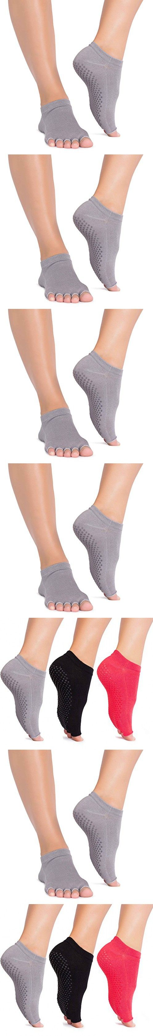 Open 5-Toe Non Skid Grip Socks for Women Toe Socks for Yoga and Pilates [ On Sale Today! ] (Gray)