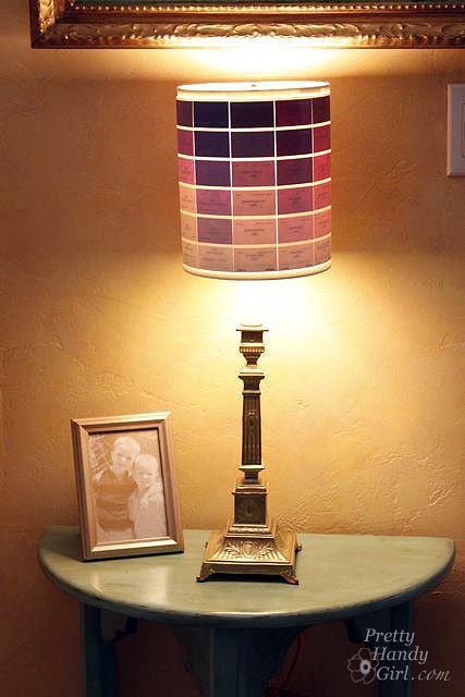 Lamp shade decorated with paint chips just cut and glue for those shades close
