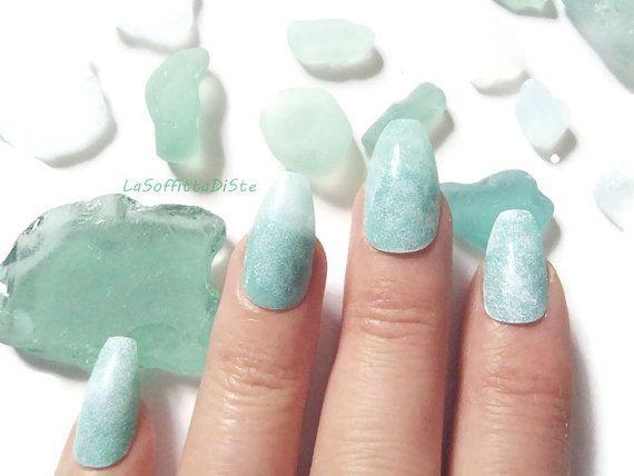 mermaid nails mint coffin nails green almond sea glass ballerina false fake beach wedding seafoam night sexy coffin fashion lasoffittadiste