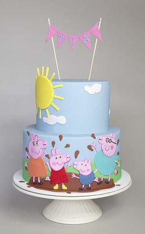 Peppa Pig Birthday Cake!                                                                                                                                                      More