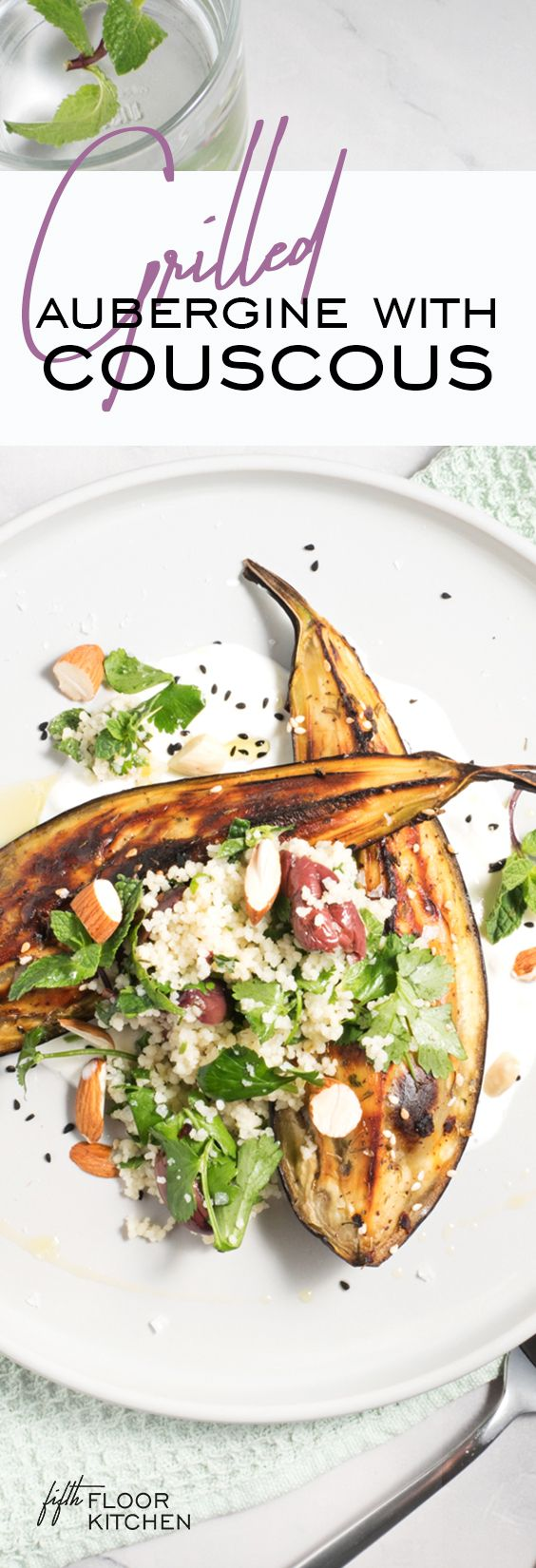 Healthy and delicious za'atar roasted aubergine with almond couscous on Greek yoghurt.