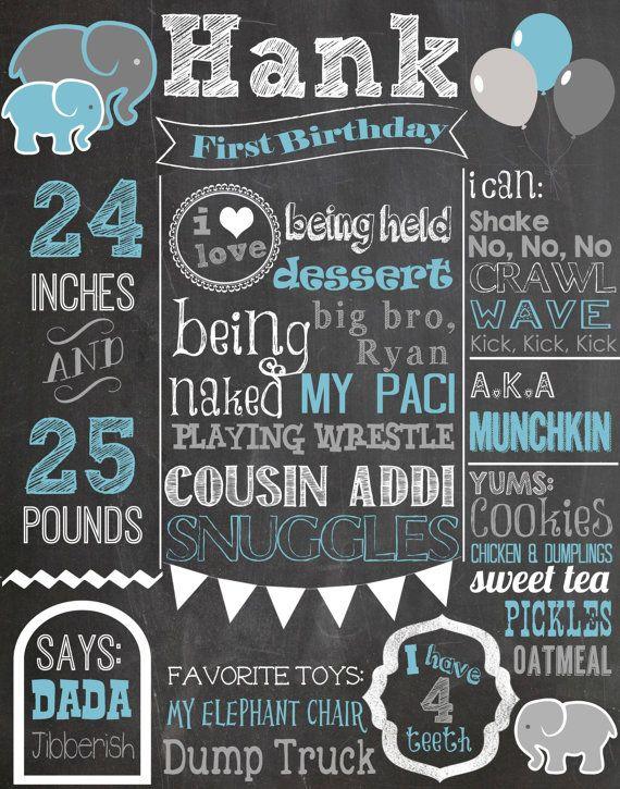 Custom First Birthday Colored Chalkboard Poster/ Invitation - Birthday Sign - Elephants-Blue-Grey-Gray-White-Bunting-Circus-Carnival-Boys on Etsy, 19,12 €