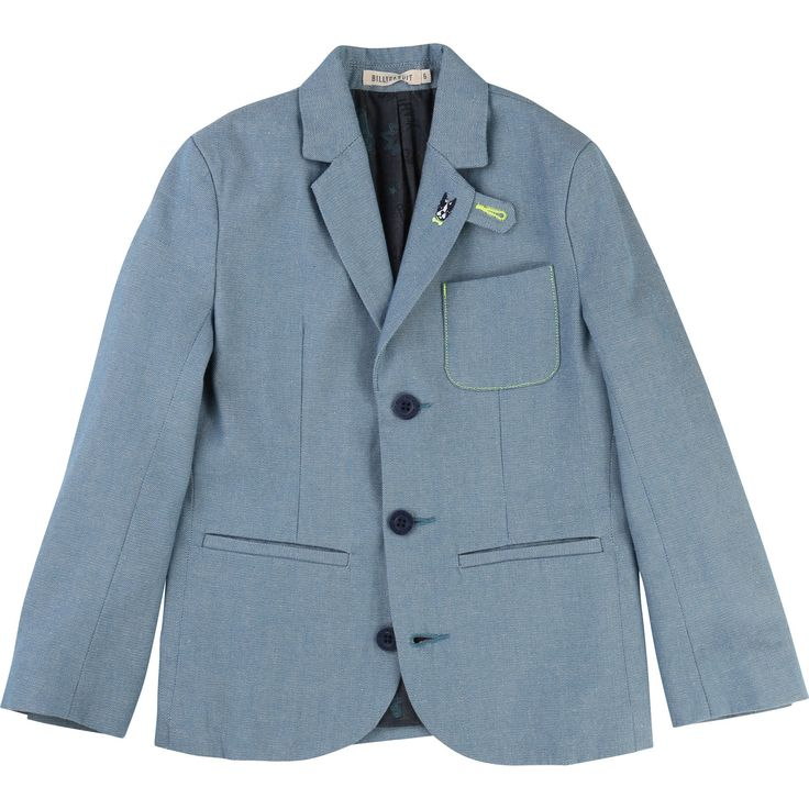 Billybandit: This is a trendy suit jacket made of cotton with long sleeves. It has a buttoned down fastener with logo branding buttons and two piped pockets at