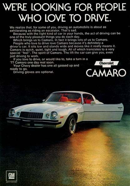 1977 Chevrolet Camaro advertisement: