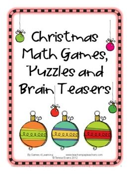 Christmas Math, Games, Puzzles and Brain Teasers is a collection from Games 4 Learning. It is loaded with Christmas math fun. $