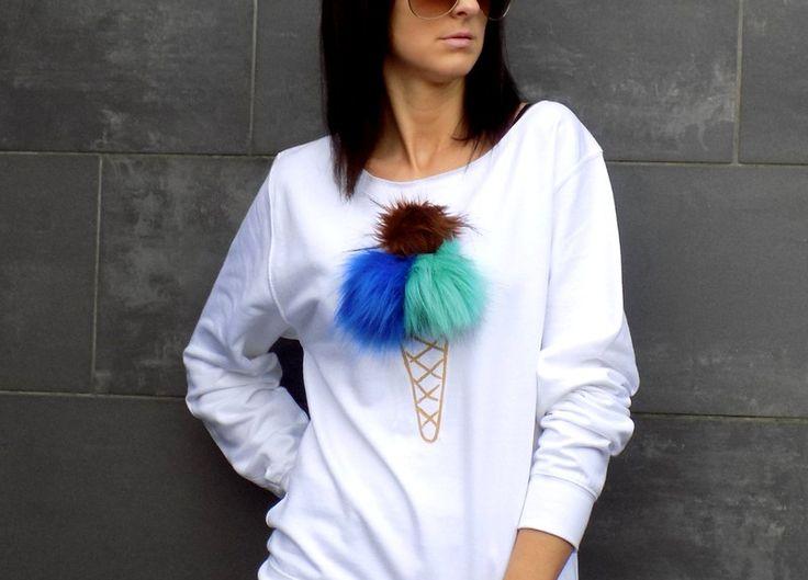 """luźna miękka bluza z pomponami  """"LODY""""  - AK-Creativo - Koszulki i bluzy"""