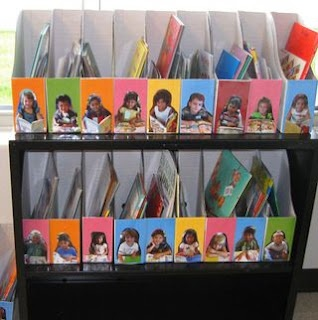 Book bins to keep kid's books organized in a classroom. No fighting over who has which book!