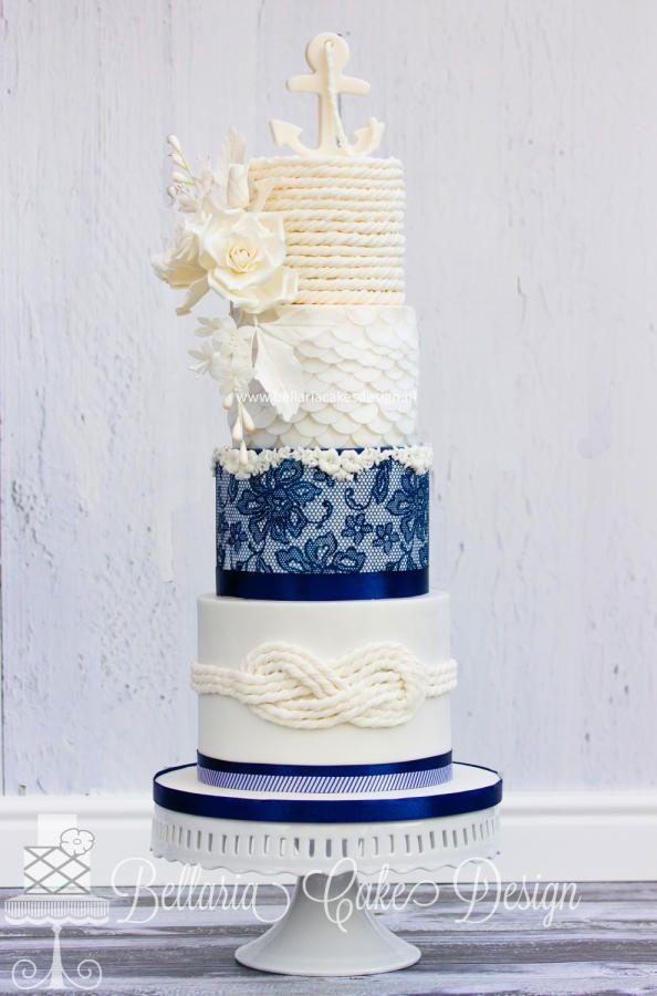 Nautical wedding cake by Bellaria Cake Design  - http://cakesdecor.com/cakes/229569-nautical-wedding-cake