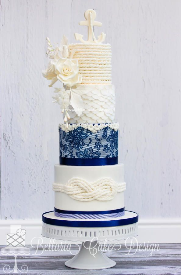 Nautical wedding cake by Bellaria Cake Design  - http://cakesdecor.com/cakes/229569-nautical-wedding-cake
