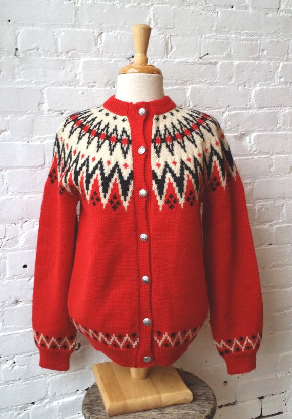 VTG 1960s Lulle Otterstad Red Wool Fair Isle by UrbanXchange, $45.00
