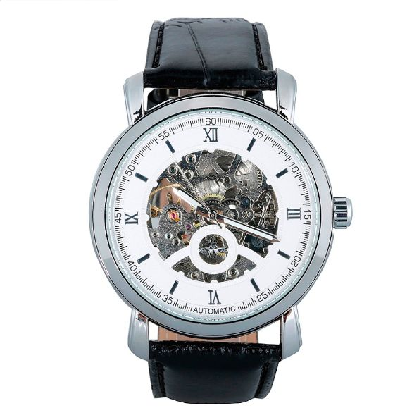 SLICK NATION Business Man Wristwatch With Skeleton Dial (Silver / Black Strap)