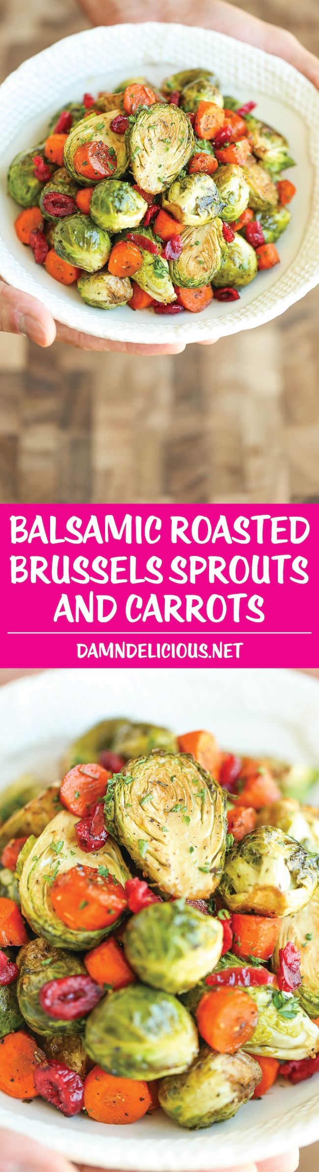 Balsamic Roasted Brussels Sprouts and Carrots - Golden brown, crisp brussels sprouts and carrots tossed in balsamic vinegar and maple syrup. (Holiday cooking recipes, ideas, Christmas dinner, side dish)