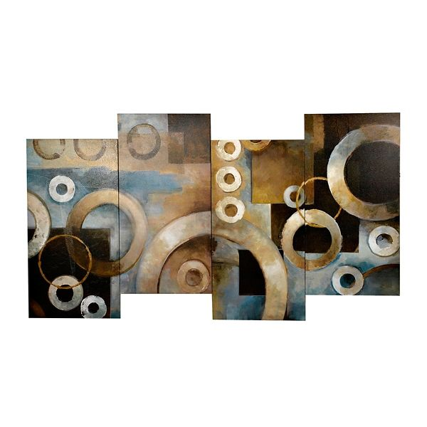 Blue Circle Abstract Staggered Canvas Art Print From Kirkland S Brown Wall Art Canvas Art Prints Canvas Art