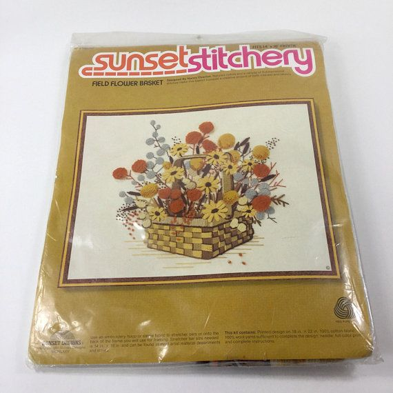 Field Flower Basket Crewel Embroidery Kit by Sunset Stitchery (1975). Fits a 14x18 frame. Package is sealed. International buyers please note: Import duties, taxes and charges are not included in the item price or shipping charges. These charges are the buyers responsibility.